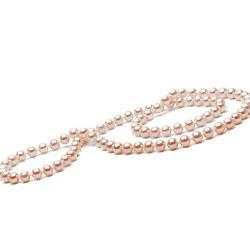 Long Collier de 66 cm en perles d'eau Douce Pêches de 7 à 8 mm