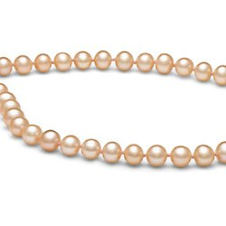 Collier de perles de culture d'eau douce Pêche 6 à 7 mm 55 cm