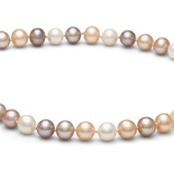 Collier 40 cm de perles de culture d'eau douce multicilores 6 à 7 mm