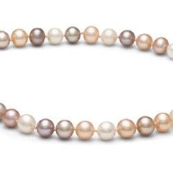 Collier 40 cm de perles d'eau douce 7 à 8 mm multicolores