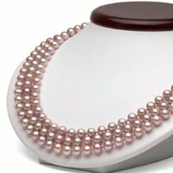 Collier triple rang de perles d'eau douce 6 à 7 mm Lavandes DOUCEHADAMA 43,45,47 cm