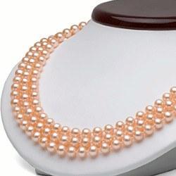 Collier 3 rangs de perles d'eau douce 6 à 7 mm Pêches 43/45/47 cm