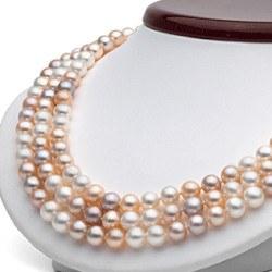 Collier triple rang de perles d'eau douce multicolores de 6 à 7 mm 43/45/47 cm