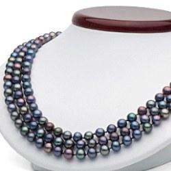 Collier 3 rangs de perles d'eau douce 6 à 7 mm Noires 43/45/47 cm