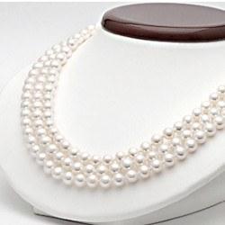 Collier de perles d'eau douce blanches 6 à 7 mm 3 rangs 43/45/47 cm