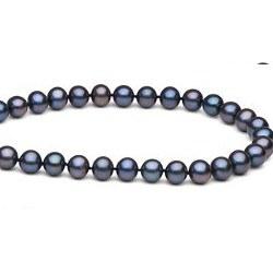 Collier de perles de culture d'Eau Douce noires 6 à 7 mm