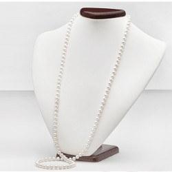 Long Collier de perles d'eau douce 90 cm 6 à 7 mm blanches