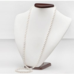 Long Collier de perles d'eau douce 90 cm 6 à 7 mm blanches