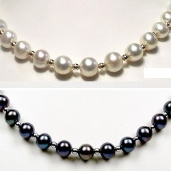 Collier 45 cm perles d'Eau Douce 7-8 mm AAA et billes en or jaune 18k