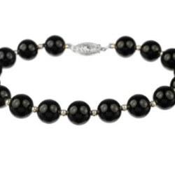 Bracelet 18 cm de perles d'eau douce noires 7-8 mm AAA et billes en or gris 14k