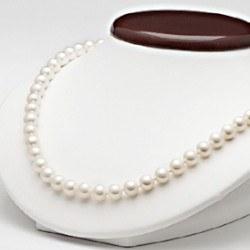 Collier 45 cm de perles d' Eau Douce Blanches 7 à 8 mm