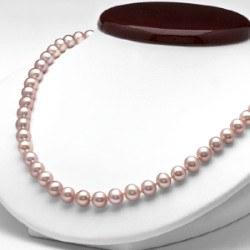 Collier 45 cm de perles d'eau douce 7 à 8 mm couleur naturelle Lavande