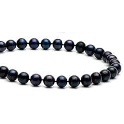 Collier de perles de culture d'Eau Douce noires 7 à 8 mm longueur 40 cm