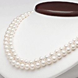Collier double rang 43/45 cm perles d'eau douce 7 à 8 mm blanches