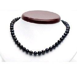 Collier 45 cm de perles de culture d'Eau Douce noires 7 à 8 mm