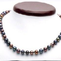 Collier 45 cm de perles de culture d'Eau Douce noires 7 à 8 mm multireflet