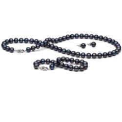 Parure de Perles d'Eau Douce 7-8 mm 45/18 cm 3 Bijoux Collier, Bracelet, Bloucles