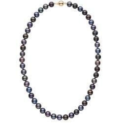 Collier 45 cm de perles de culture d'eau douce noires 8 à 9 mm