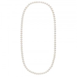 Long collier de perles d'eau douce blanche de 8 à 9 mm 70 cm