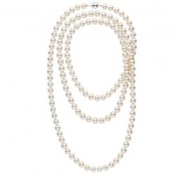 Tres long collier de perles d'eau douce blanche de 8 à 9 mm 130 cm