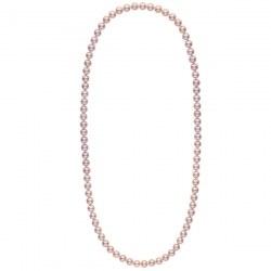 Long collier de perles d'eau douce couleur lavande de 8 à 9 mm 70 cm