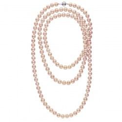 Très long collier de perles d'eau douce Lavandes 8 à 9 mm 130 cm