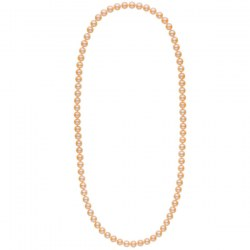 Long collier de perles d'eau douce couleur pêche de 8 à 9 mm 70 cm