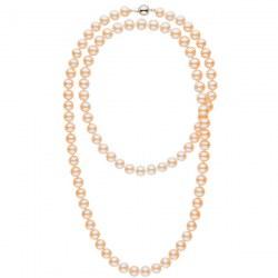Très long collier de perles d'eau douce Pêches 8 à 9 mm 114 cm