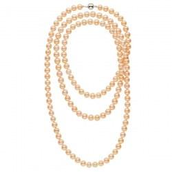 Très long collier de perles d'eau douce Pêches 8 à 9 mm 130 cm