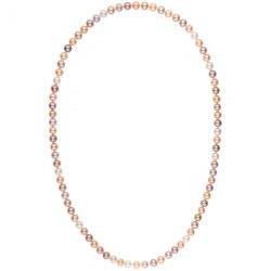 Long collier de perles d'eau douce multicolores de 8 à 9 mm 70 cm