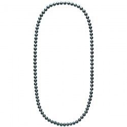 Long collier de perles noires d'eau douce de 8 à 9 mm 70 cm
