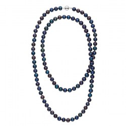 Long collier de perles d'eau douce noires de 8 à 9 mm 90 cm