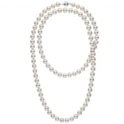 Long collier de perles d'Eau Douce de 9 à 10 mm Blanches 114 cm