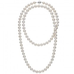 Collier 90 cm de perles de culture d'eau douce blanches 10 à 11 mm