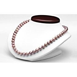 Collier 40 cm de perles de culture d'eau douce Lavande 9 à 10 mm