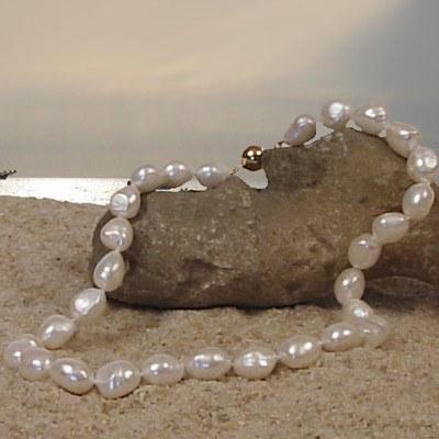 Collier 40 ou 45 cm de perles d'eau douce Blanches Baroque de 10 à 11 mm