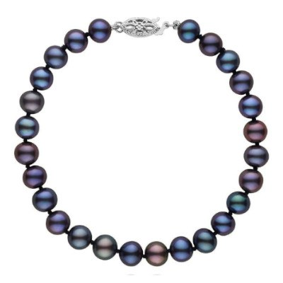 Bracelet de perles d'eau douce noires 6 à 7 mm