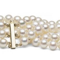 Bracelet triple rang de perles d'eau douce Blanches 9 à 10 mm 3x18 cm