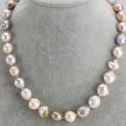 Collier 45 cm de Perles Ripple Baroques d'eau douce 10-12 mm métalliques avec billes Plaqué Or