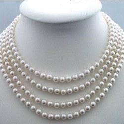 Collier 4 rangs 40-42-44-46 cm de perles d'eau douce 6-7 mm DOUCEHADAMA