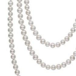 Long Collier de 130 cm perles d'eau douce blanches 6 à 7 mm DOUCEHADAMA