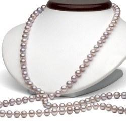 Long Collier de perles d'eau douce 90 cm 6 à 7 mm Lavande DOUCEHADAMA