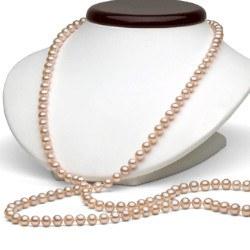 Très long collier de perles d'eau douce DOUCEHADAMA Pêches 8 à 9 mm 114 cm