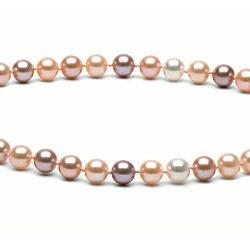 Collier 40 cm de perles d'Eau Douce de 6 à 7 mm Multicolore DOUCEHADAMA