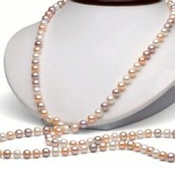 Long Collier de perles d'eau douce 90 cm 6 à 7 mm Multicolores DOUCEHADAMA