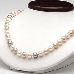 Collier 45 cm de perles d'Eau Douce de 6 à 7 mm Multicolore DOUCEHADAMA