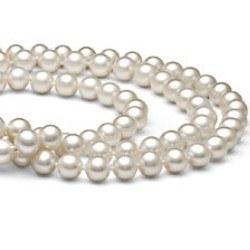 Collier triple rang de perles blanches DOUCEHADAMA 6 à 7 mm 41/43/45 cm