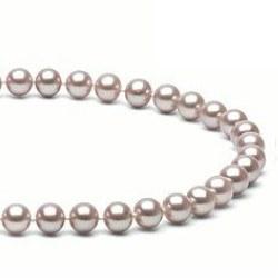 Collier 40 cm de perles d'Eau Douce de 7 à 8 mm Lavande DOUCEHADAMA