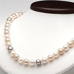 Collier 45 cm de perles d'Eau Douce de 7 à 8 mm Multicolore DOUCEHADAMA