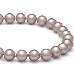 Collier 40 cm de perles d'eau douce lavandes de 8 à 9 mm DOUCEHADAMA